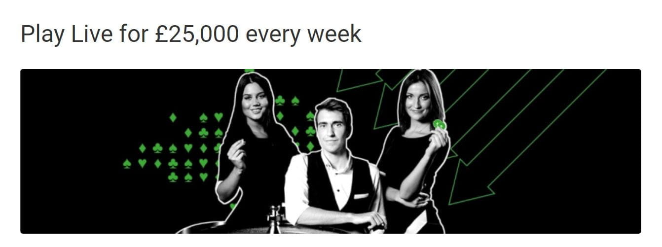 "Three casino croupiers, with text reading ""Play Live for £25,000 every week""."