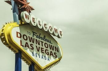A neon sign reading Welcome To Fabulous Downtown Las Vegas, Nevada.
