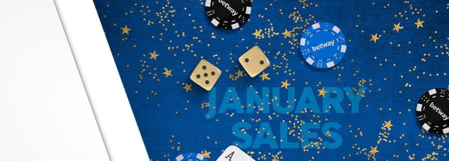 Banner reading Betway January Sales, with dice and poker chips.