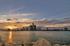 The city skyline of Detroit, Michigan.