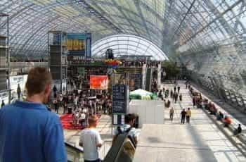 A busy expo hall.