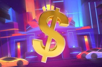 A dollar sign in front of an animated casino with luxury cars outside.