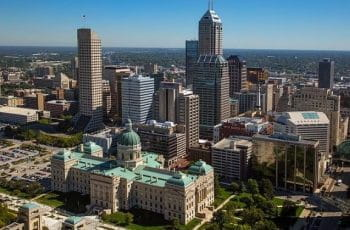 The city skyline of Indianapolis, Indiana, US.