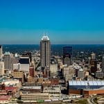 The city skyline of Indianapolis, Indiana.