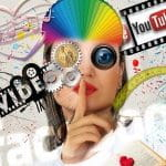 A collage of a woman's face covered in a variety of logos and graphics representing social media, advertising and marketing tropes.