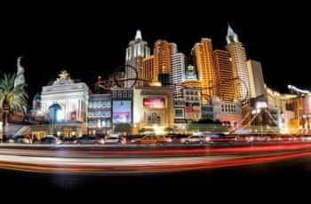 The Las Vegas casino strip at night.