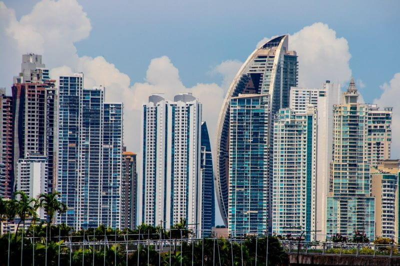 The city skyline of Panama City, Panama.
