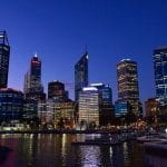 Perth nighttime skyline.