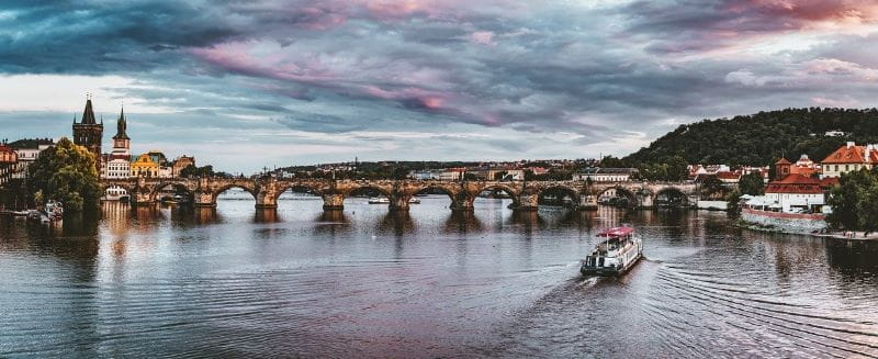 The world-famous Charles Bridge in the Czech Republic's capital city of Prague.