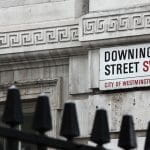 A Downing Street sign in the City of Westminster.