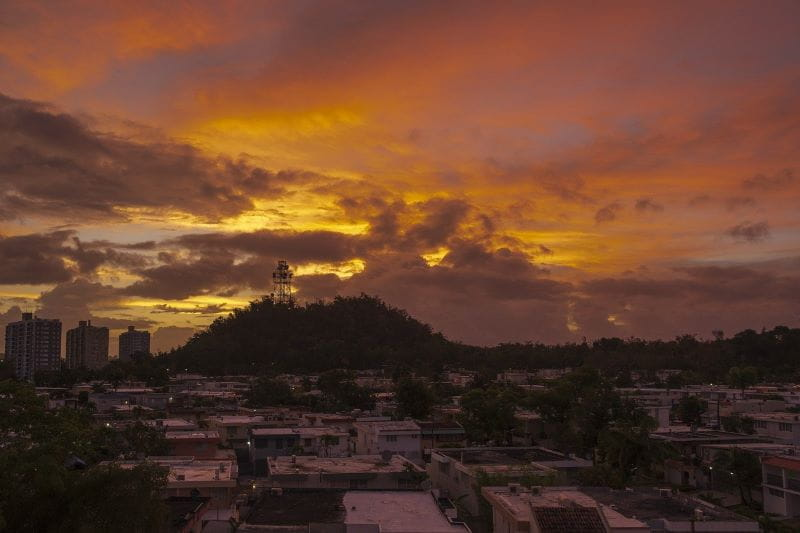 Sunrise over an urban landscape in Puerto Rico.