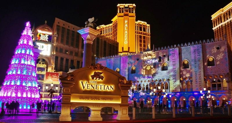 Christmas lights and a Christmas tree outside of the Venetian resort-casino in Las Vegas, Nevada.