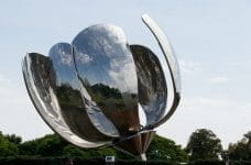 A metal sculpture of a flower in Buenos Aires, Argentina.