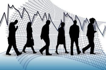 A series of human silhouettes walking away after being laid off, with an unstable graph in the background.