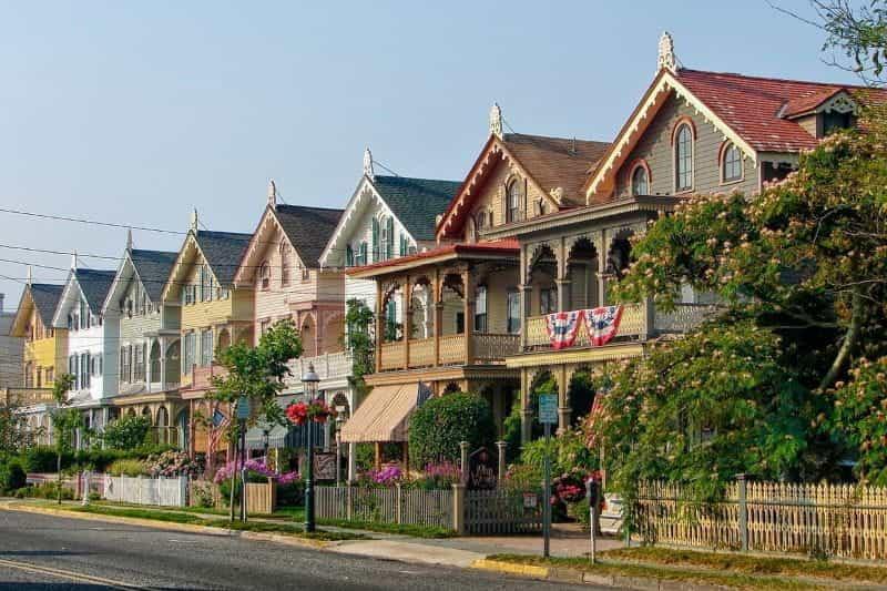 Deretan rumah di Cape May, New Jersey, AS.