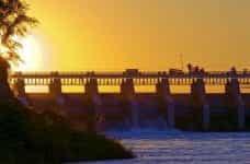 The Gavins Point Dam on the Missouri River in Nebraska, US.