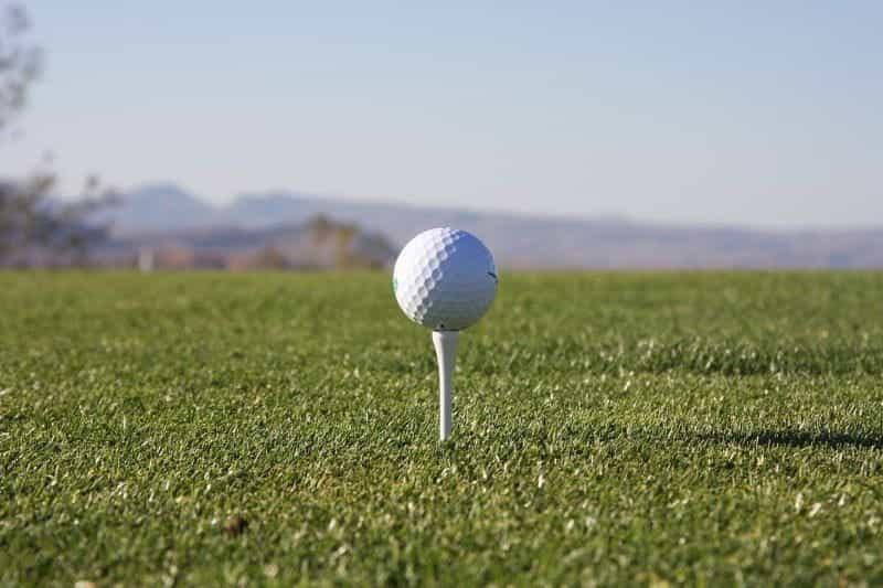 Bola golf bertumpu pada tee.