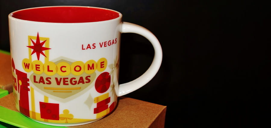 A mug with Welcome to Las Vegas written on it.