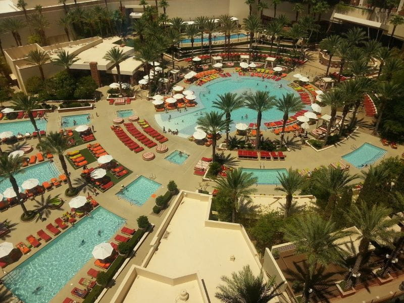 The hotel pools outside a resort-casino in Las Vegas, US.