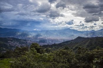 Mountains surround the city of Medellín, Colombia.