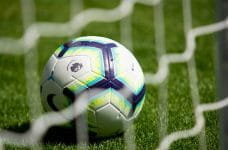 A soccer ball sitting on the pitch behind a goal, branded with the English Premier League's logo.