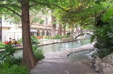 A pathway along a river in San Antonio, Texas.