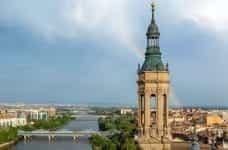 A rainbow over the cityscape of Zaragoza, Spain.