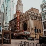 A theater marquee saying CHICAGO in downtown Chicago, Illinois, US.