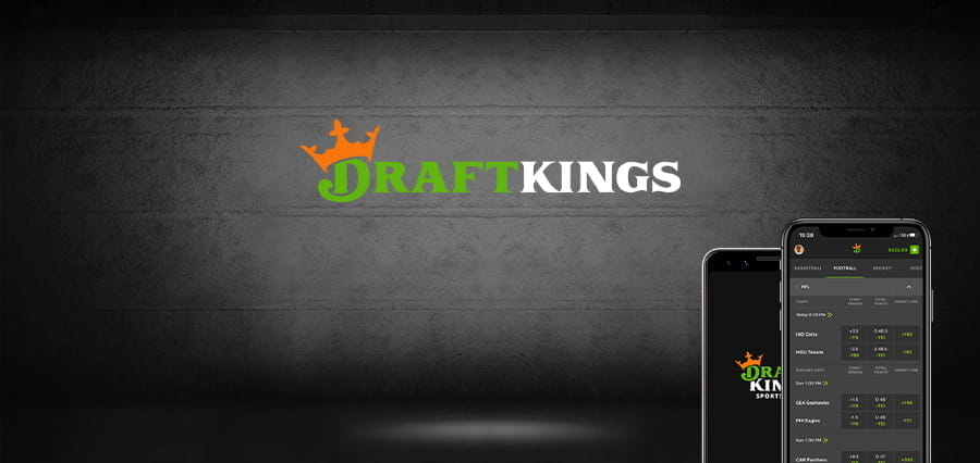 The DraftKings logo and two mobile phones.