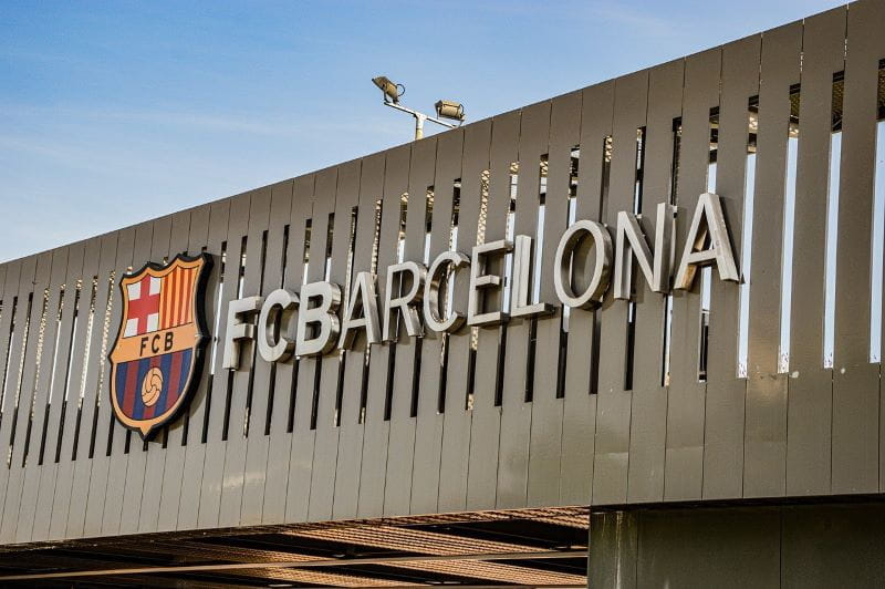 The FC Barcelona logo outside of Barcelona's soccer stadium.