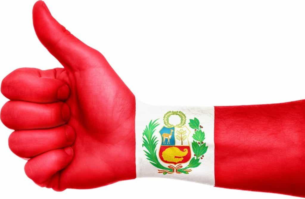 Teks Alt: Sebuah tangan yang dilukis dengan bendera Peru mengacungkan jempol.
