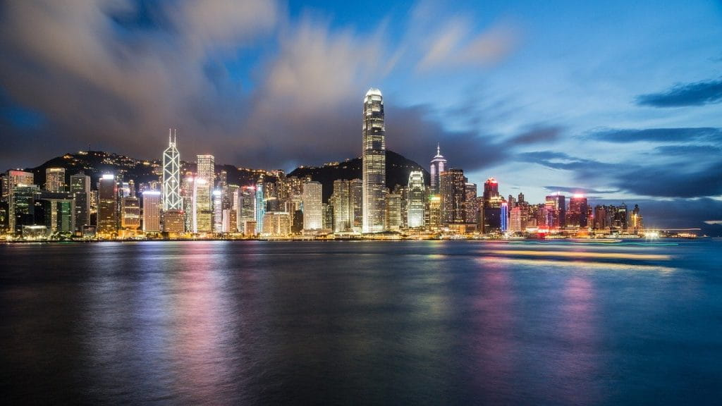 Teluk Hong Kong saat senja.  <a href=