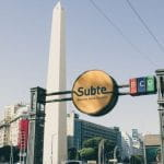 An intersection in Buenos Aires, Argentina.