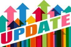 Multi-colored arrows point upward, overlaid by the word UPDATE in rainbow letters.