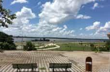 Benches overlook the ocean in Asunción, Paraguay.