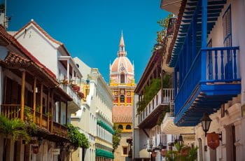 The colorful historic buildings of Cartagena, Colombia.