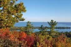 Fall foliage in Copper Harbor, Michigan.