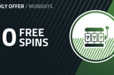 """A circle with a slot icon inside and the words """"10 Free Spins""""."""