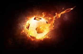 A football or soccer ball on fire.