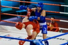A red boxer and a blue boxer fighting in the ring.