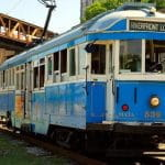 A blue trolley in Memphis, Tennessee.