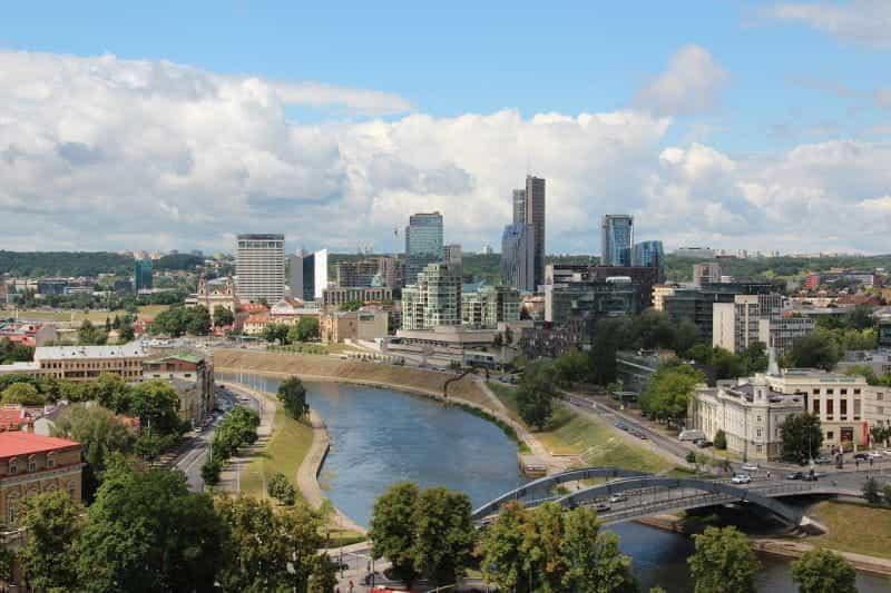 Pemandangan pusat kota Vilnius, ibu kota Lituania.