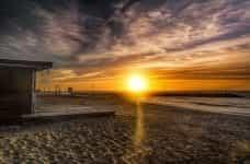 Sunrise on the beach in Argentina.