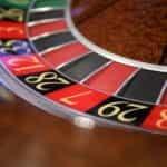 A roulette wheel in a casino.