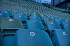 Empty stadium seats.