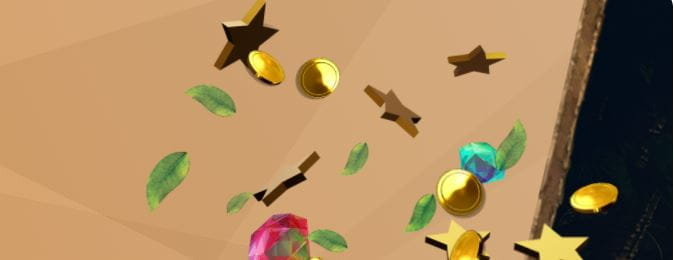Stars, leaves, gems and coins on a beige background.