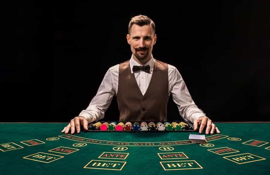 A live casino dealer.