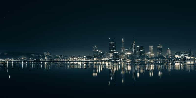 Cakrawala waktu malam Perth.
