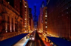 Downtown Chicago, Illinois at night.