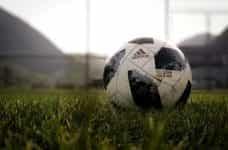 A football on a grassy pitch.